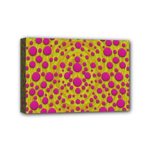 Fantasy Feathers And Polka Dots Mini Canvas 6  X 4  by pepitasart