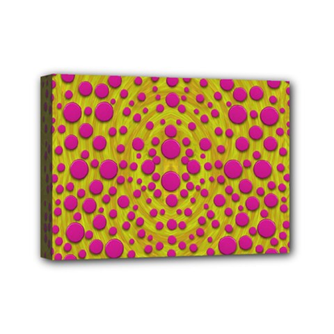 Fantasy Feathers And Polka Dots Mini Canvas 7  X 5  by pepitasart