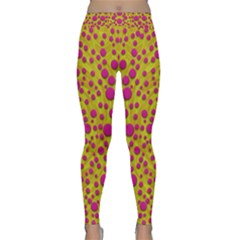 Fantasy Feathers And Polka Dots Yoga Leggings  by pepitasart