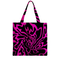 Magenta And Black Zipper Grocery Tote Bag by Valentinaart