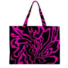 Magenta And Black Zipper Mini Tote Bag by Valentinaart
