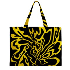 Black And Yellow Zipper Mini Tote Bag by Valentinaart