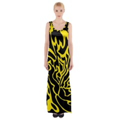 Black And Yellow Maxi Thigh Split Dress by Valentinaart