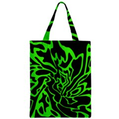 Green And Black Zipper Classic Tote Bag by Valentinaart