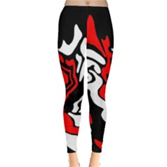 Red, Black And White Decor Leggings  by Valentinaart