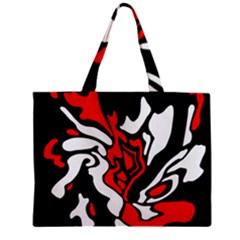 Red, Black And White Decor Zipper Mini Tote Bag by Valentinaart