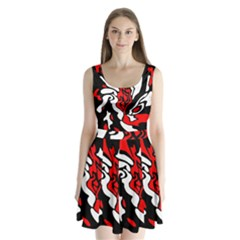 Red, Black And White Decor Split Back Mini Dress  by Valentinaart