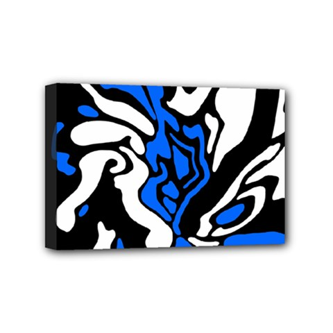 Blue, Black And White Decor Mini Canvas 6  X 4  by Valentinaart