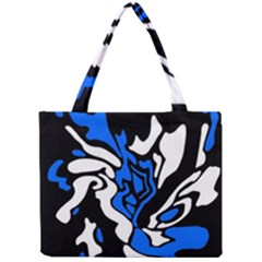 Blue, Black And White Decor Mini Tote Bag by Valentinaart