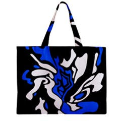 Blue, Black And White Decor Zipper Mini Tote Bag by Valentinaart