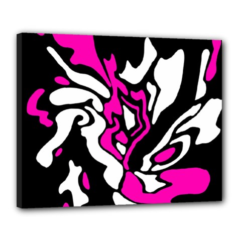 Magenta, Black And White Decor Canvas 20  X 16  by Valentinaart