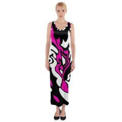 Magenta, Black And White Decor Fitted Maxi Dress by Valentinaart