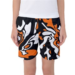 Orange, White And Black Decor Women s Basketball Shorts by Valentinaart