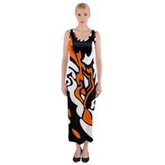 Orange, White And Black Decor Fitted Maxi Dress by Valentinaart