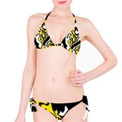 Yellow, Black And White Decor Bikini Set by Valentinaart
