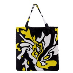 Yellow, Black And White Decor Grocery Tote Bag by Valentinaart