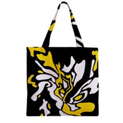Yellow, Black And White Decor Zipper Grocery Tote Bag by Valentinaart