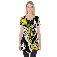 Yellow, Black And White Decor Short Sleeve Tunic  by Valentinaart