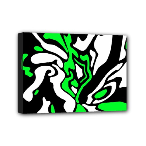Green, White And Black Decor Mini Canvas 7  X 5  by Valentinaart