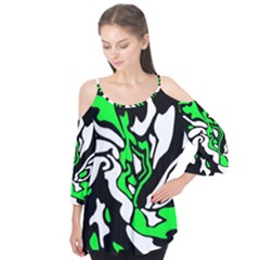 Green, White And Black Decor Flutter Tees