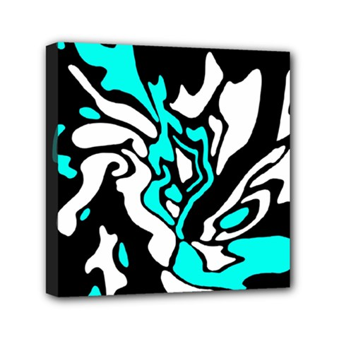 Cyan, Black And White Decor Mini Canvas 6  X 6  by Valentinaart
