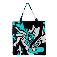 Cyan, Black And White Decor Grocery Tote Bag by Valentinaart