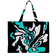 Cyan, Black And White Decor Zipper Mini Tote Bag by Valentinaart