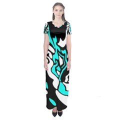 Cyan, Black And White Decor Short Sleeve Maxi Dress by Valentinaart