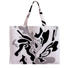 Gray, Black And White Decor Zipper Mini Tote Bag by Valentinaart