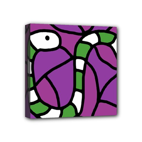 Green Snake Mini Canvas 4  X 4  by Valentinaart