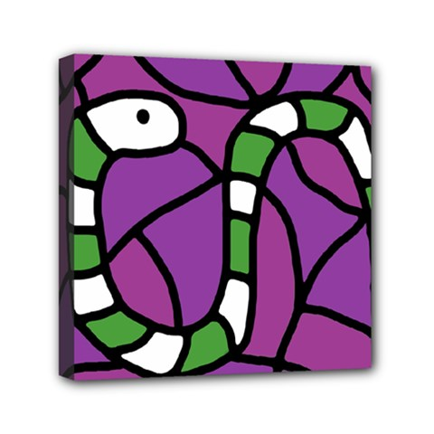 Green Snake Mini Canvas 6  X 6  by Valentinaart