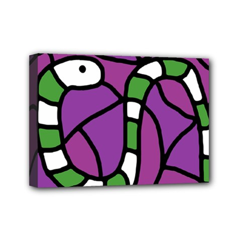 Green Snake Mini Canvas 7  X 5  by Valentinaart