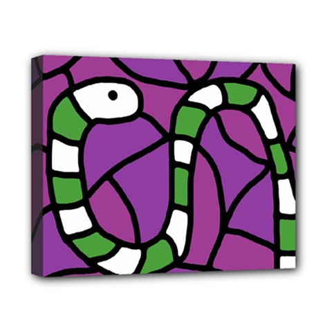 Green Snake Canvas 10  X 8  by Valentinaart