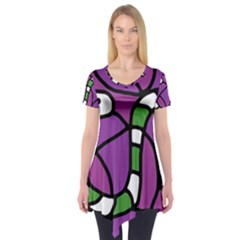 Green Snake Short Sleeve Tunic  by Valentinaart