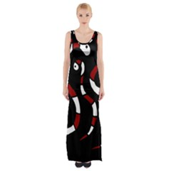 Red Snakes Maxi Thigh Split Dress by Valentinaart