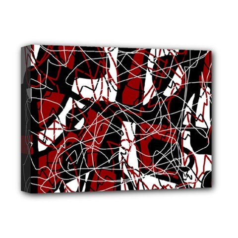 Red Black And White Abstract High Art Deluxe Canvas 16  X 12   by Valentinaart