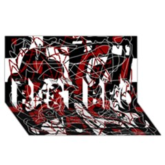 Red Black And White Abstract High Art Best Bro 3d Greeting Card (8x4)