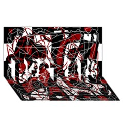 Red Black And White Abstract High Art Best Sis 3d Greeting Card (8x4) by Valentinaart