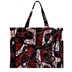 Red Black And White Abstract High Art Zipper Mini Tote Bag by Valentinaart