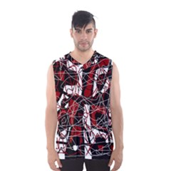 Red Black And White Abstract High Art Men s Basketball Tank Top by Valentinaart