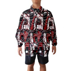 Red Black And White Abstract High Art Wind Breaker (kids) by Valentinaart