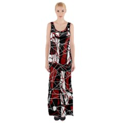 Red Black And White Abstract High Art Maxi Thigh Split Dress by Valentinaart