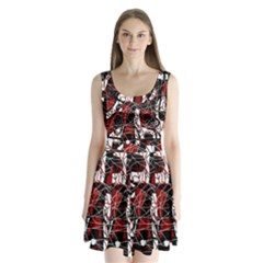 Red Black And White Abstract High Art Split Back Mini Dress