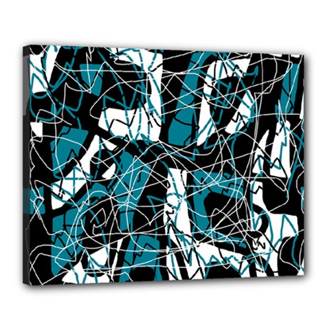 Blue, Black And White Abstract Art Canvas 20  X 16  by Valentinaart