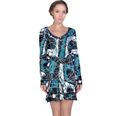 Blue, Black And White Abstract Art Long Sleeve Nightdress