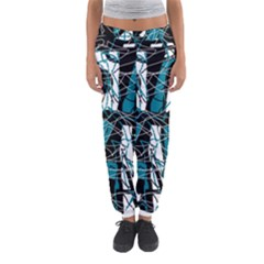 Blue, Black And White Abstract Art Women s Jogger Sweatpants by Valentinaart