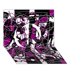 Purple, White, Black Abstract Art Peace Sign 3d Greeting Card (7x5) by Valentinaart
