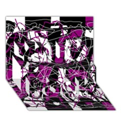 Purple, White, Black Abstract Art You Rock 3d Greeting Card (7x5) by Valentinaart