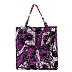 Purple, White, Black Abstract Art Grocery Tote Bag by Valentinaart