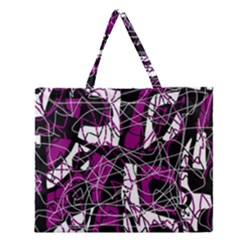 Purple, White, Black Abstract Art Zipper Large Tote Bag by Valentinaart